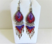 Peruvian Silver Red Purple Dangle Thread Earrings - Red Hatters