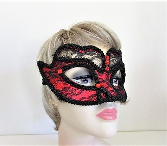 Red - Black Lace Feather Mask - Red Hat Society Ladies