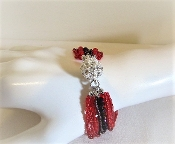 Red - Purple Bead Bracelet - Crystal Ball Close - Red Hat Ladies