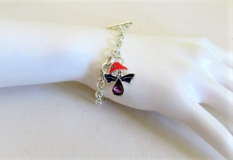 Red Hat Angel Charm Silver Chain Bracelet - Especially Designed