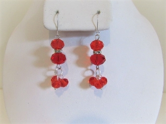 Red Bead and Crystal Earrings - Red Hat Lady Accessory
