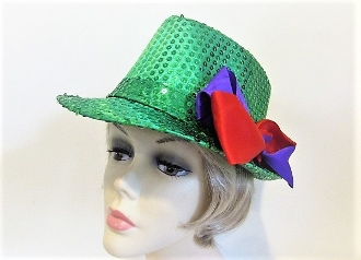 Saint Patricks Day Green Suede Fedora - Red Hat Society Lady