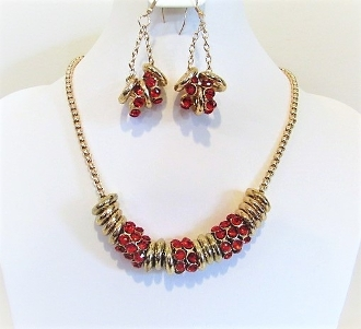 Red Crystal - Gold Ring Chain Necklace - Earring Set
