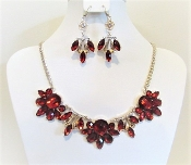 Red Multi-Faceted Crystal Necklace - Earrings - Red Hat Glitz