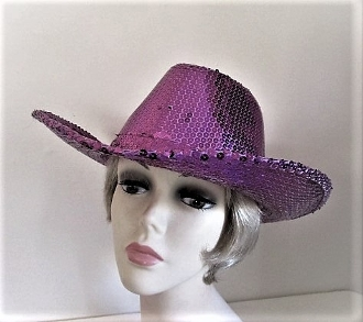 Purple Sequin Cowboy Hat - Red Hat Society Ladies