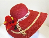 Red Radiance Fancy Straw Hat - Red Hat