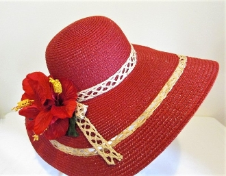 Red Radiance Fancy Straw Hat - Red Hat Society Lady Accessory