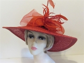 Red On Red Large Brim Straw - Red Hat Society Ladies Hat