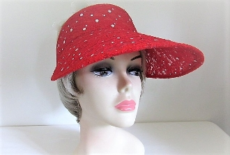 Red Sparkle Large Visor - Red Hat Ladies
