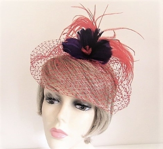 Purple Feather Flower Head Band - Red Hat Society Ladies