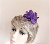 Velvet Head Band With Purple Flower - Red Hattters