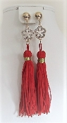 Red 4 1/2 Inch Tassel Earrings - My Red Hat Store Exclusive