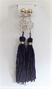 Purple 4 1/2 Inch Tassel Earrings - My Red Hat Store Exclusive