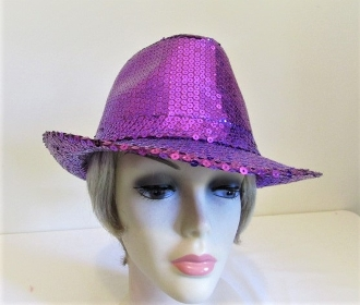 Purple Full Sequin Fedora - Red Hat Lady Hat