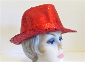 Red Full Sequin Fedora - Red Hat Ladies Hat
