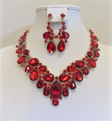 Red Crystal Collar Necklace - Earrings - Red Hat Ladies Glitz