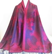 Red - Black Rose - Shawl - Pashmina - Red Hatters Accessory
