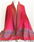 Red - Gold Edged- Pashmina- Shawl - Scarf - Red Hat Accessory