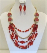 Red Bead - Gold Chain Necklace - Earring Set- Red Hatters
