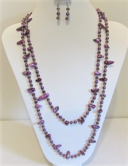 Purple Pearl - Bead -Necklace - Earring Set - Red Hatters