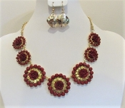 Red Rose Crystal Necklace - Earrings - Red Hat Ladies Glitz