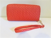 Red Woven Faux Leather Wrist Wallet - Clutch - Red Hat Ladies