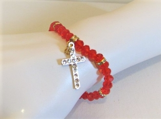 Red Bead Bracelet - Cross Charm Especially Designed - Red Hatter