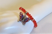 Red Bead Bracelet - Butterfly Charm Designed For Red Hatters