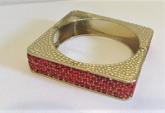 Square Red Crystal Hinged Bangle Bracelet - Red Hat Ladies