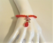 Red Hat Swivel Angel Charm Bracelet - Red Hat Society Ladies