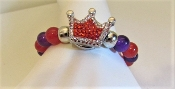 Red - Purple Glass Bead Crystal Crown Bracelet - Red Hat Royalty