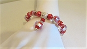 Red Murano Bead - Pearl Bracelet - Red Hat Lady Accessory