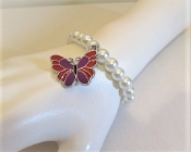 Pearl Bracelet Butterfly Charm - Red Hat Society Ladies