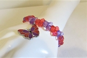 Red Hat Society Ladies Red - Purple Bead - Butterfly Bracelet