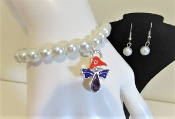 Angel Pearl Charm Bracelet - Earrings - Red Hat Society Ladies