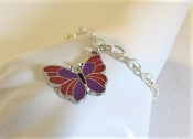 Red Purple Butterfly Silver Chain Bracelet - Red Hat Ladies