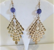 Gold Dangle - Purple Bead Earrings - My Red Hat Store Exclusive