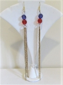 Gold Chain - Red Purple Bead Earrings - Red Hat Ladies