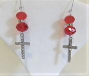 Red Bead and Crystal Cross Earrings - Red Hat Lady Accessory