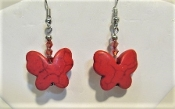 Red Butterfly Earrings Myredhatstore.com exclusive