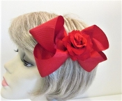Red Hair Bow - Red Rose Flower - Red Hat Society Ladies