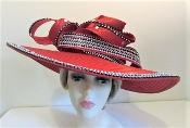 Crystals and Curls Satin Braid Red Hat - Red Hat Society Ladies