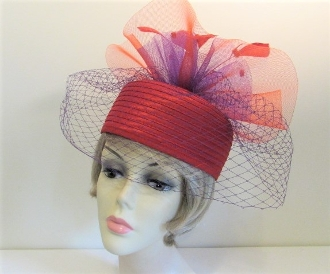 Red - Purple Veiled - Braided - Pillbox - Red Hat