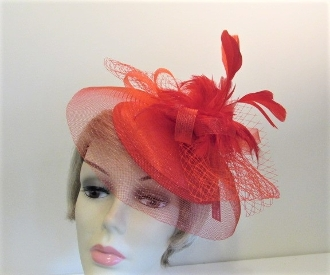 Red Satin Cap Feather Fascinator - Red Hat