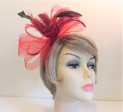 Bow - Feather Head Band - Red Hat Society Ladies