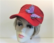 Butterfly on Brim Red Military Cap - Red Hat