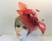 Feathers with Flash Fascinator - Red Hat Society Ladies