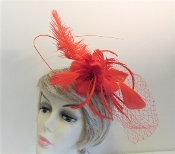 Ostrich Feather Fascinator - Red Hat Society Ladies