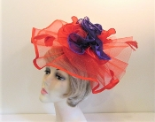 Saucy Satin Ruffled Fascinator - Red Hat Society Ladies