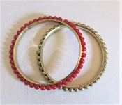 2 Brass - Red Bead Bangle Bracelets - Red Hatter Accessories